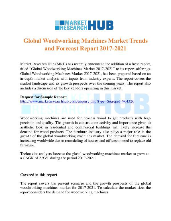 Market Research Report Global Woodworking Machines Market Trends