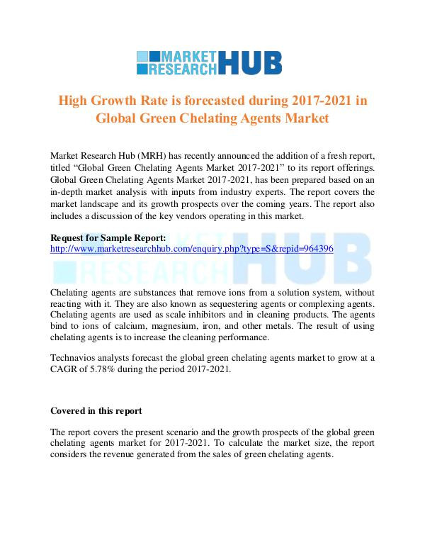 Market Research Report Global Green Chelating Agents Market Report 2021