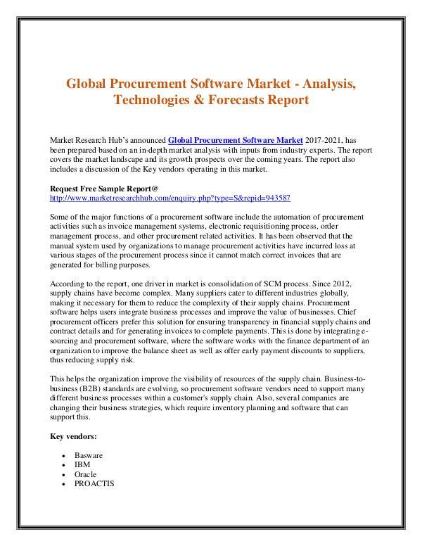 Market Research Report Global Procurement Software Market Report