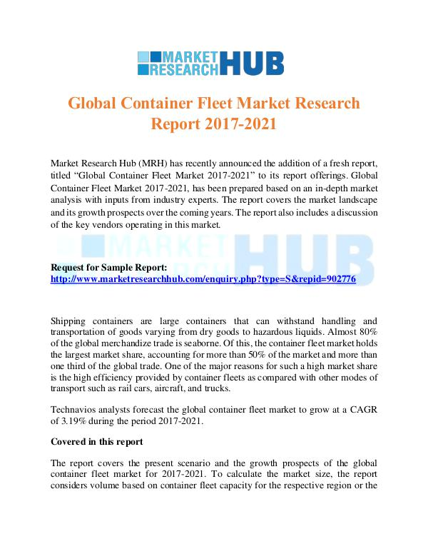 Market Research Report Global Container Fleet Market Research Report 2017