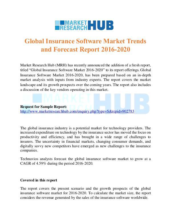 Market Research Report Global Insurance Software Market Report 2016-2020