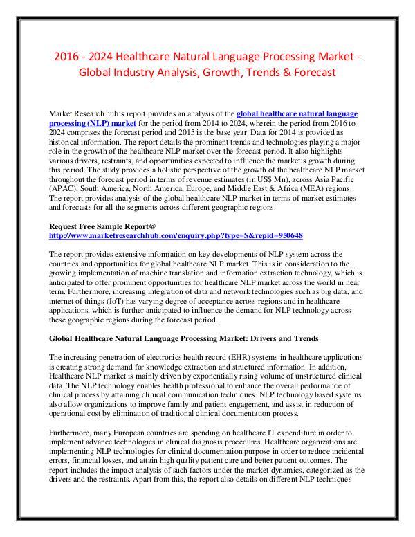 Market Research Report Healthcare Natural Language ProcessingMarketReport