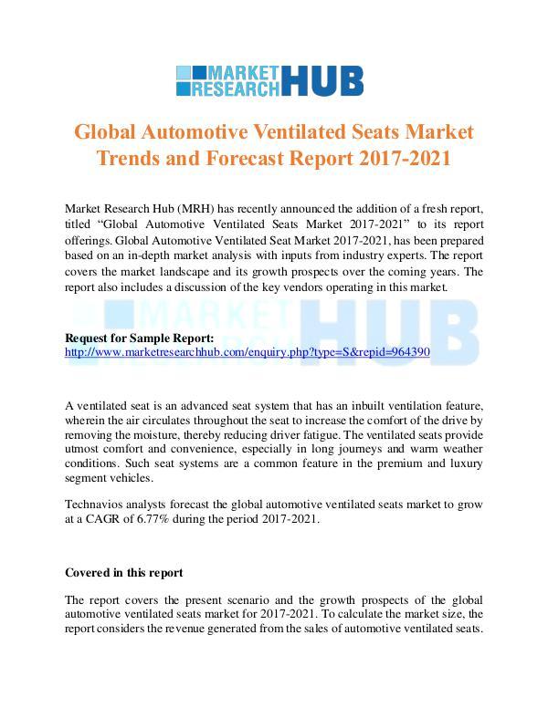 Market Research Report Global Automotive Ventilated Seats Market Trends