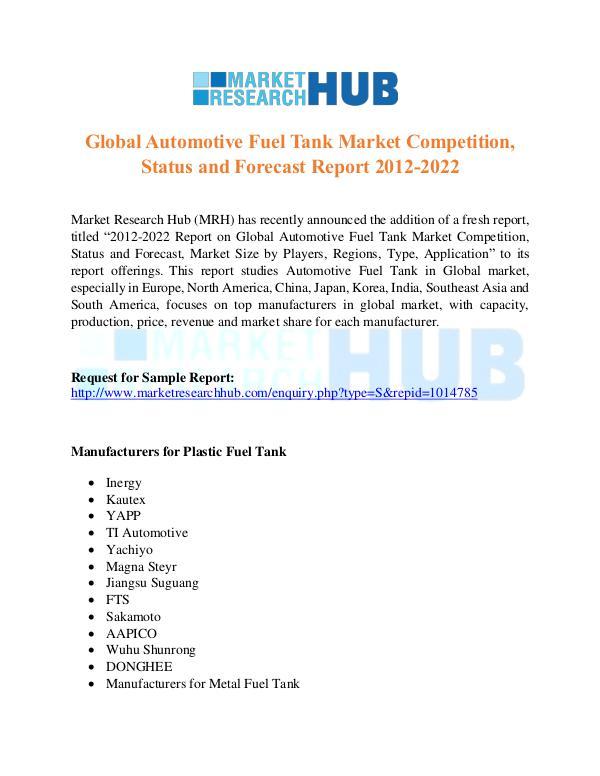 Market Research Report Automotive Fuel Tank Market Report
