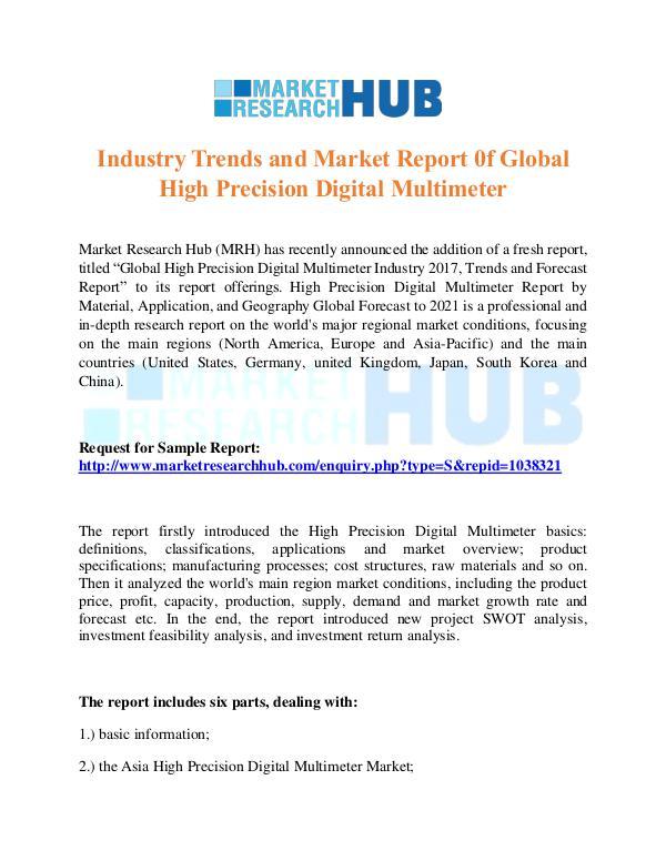 Market Research Report High Precision Digital Multimeter Market Report