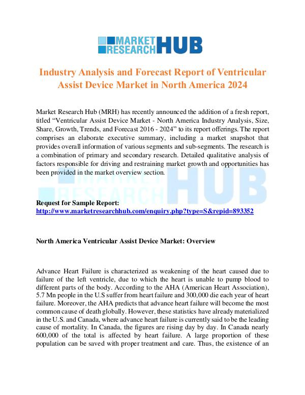 Market Research Report Ventricular Assist Device Market Report 2017