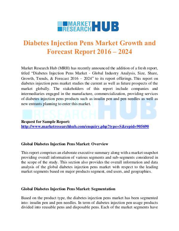 Market Research Report Diabetes Injection Pens Market Report