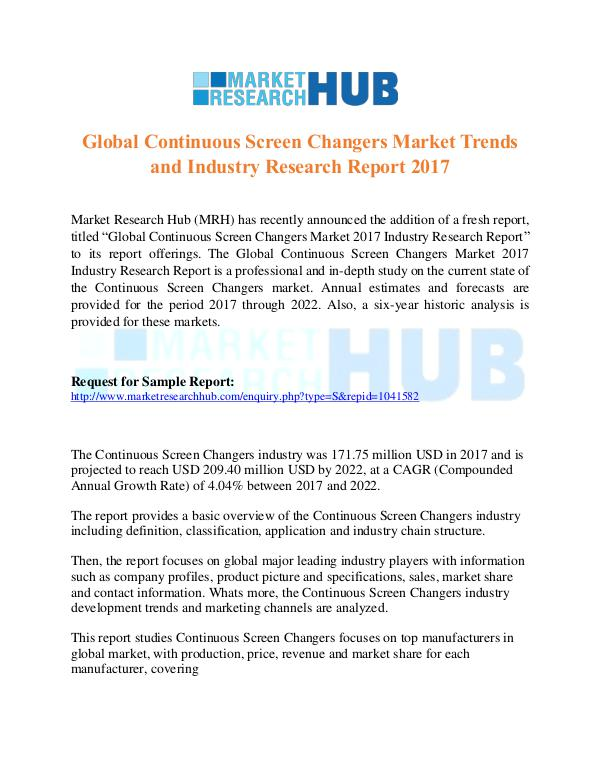 Market Research Report Global Continuous Screen Changers Market Report