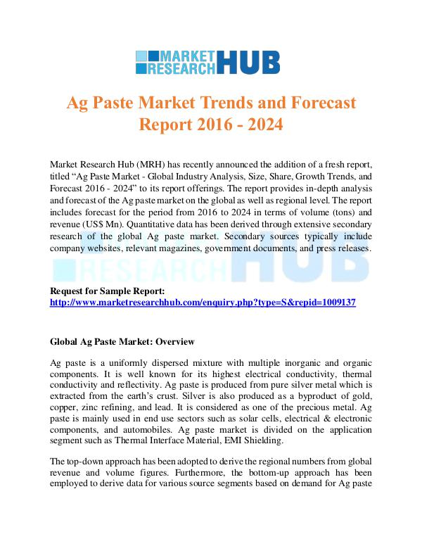 Market Research Report Ag Paste Market Trends Market Report