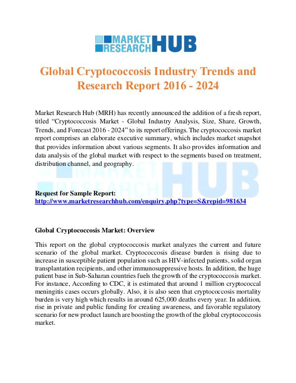 Market Research Report Global Cryptococcosis Industry Trends Report