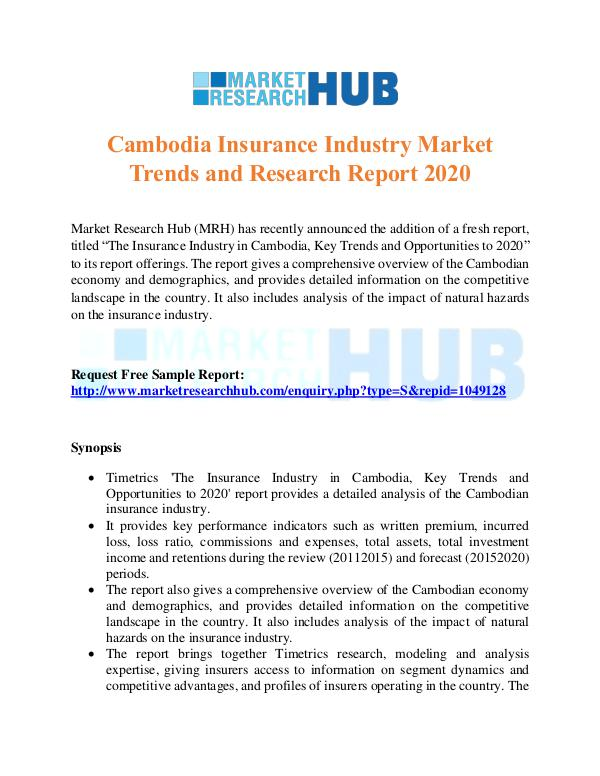 Market Research Report Cambodia Insurance Industry Market Trends