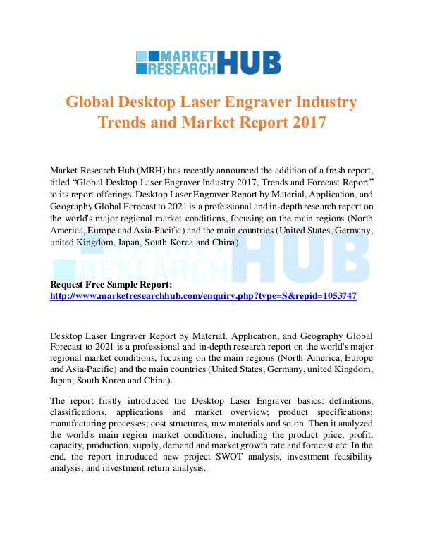 Market Research Report Global Desktop Laser Engraver Industry Trends