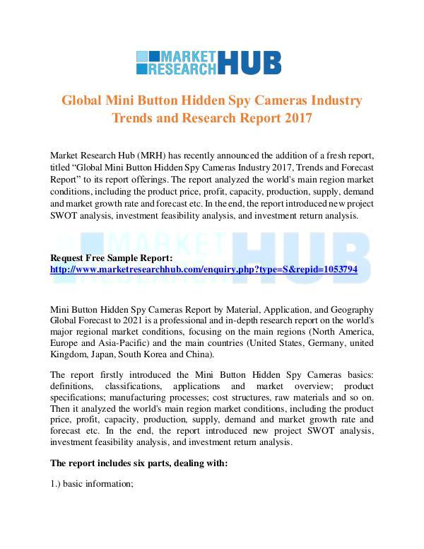Market Research Report Global Mini Button Hidden Spy Cameras MarketReport
