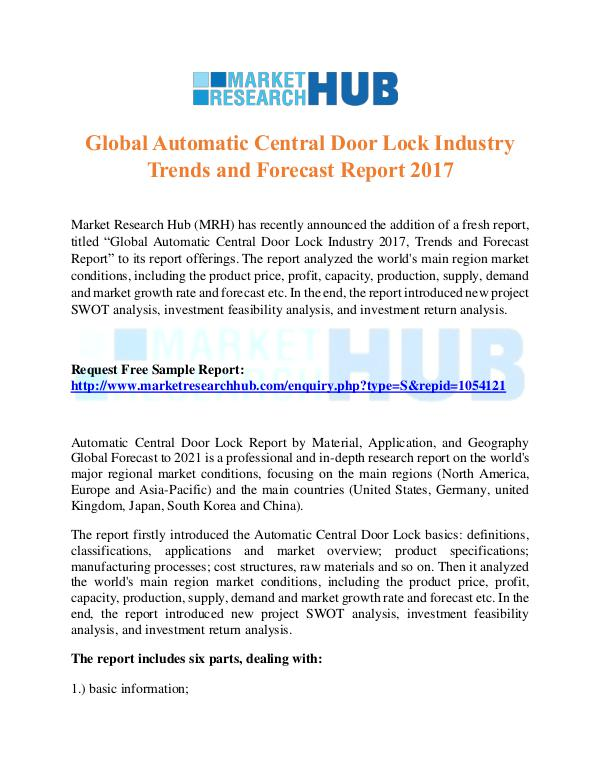 Market Research Report Global Automatic Central Door Lock Industry Report