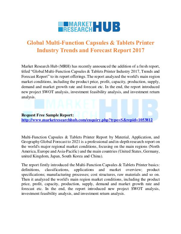 Market Research Report Multi-Function Capsules & Tablets Printer Industry
