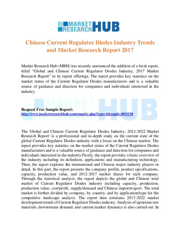 Market Research Report Chinese Current Regulator Diodes Industry Report