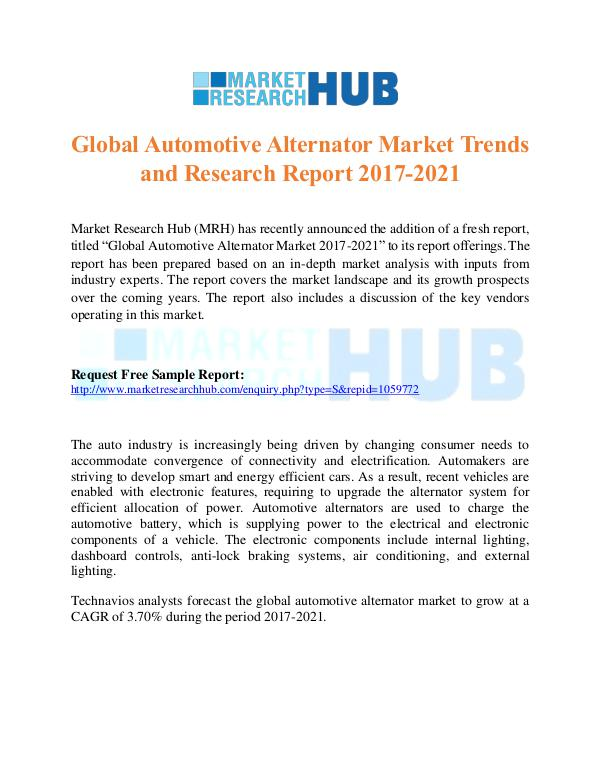 Market Research Report Global Automotive Alternator Market Report