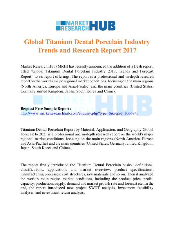 Market Research Report Global Titanium Dental Porcelain Industry Trends