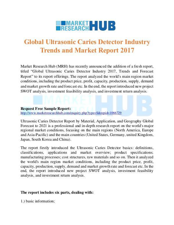 Market Research Report Global Ultrasonic Caries Detector Industry Report