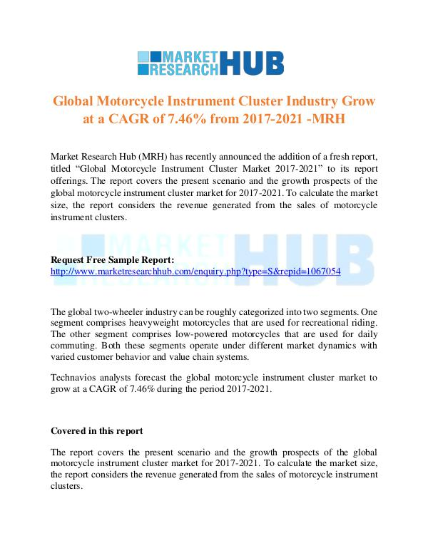 Market Research Report Global Motorcycle Instrument Cluster Industry