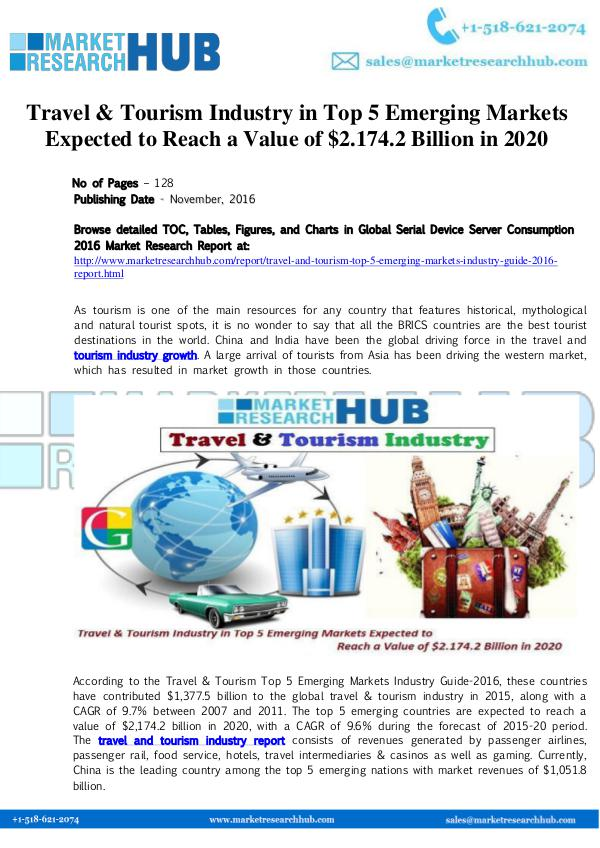 Market Research Report Travel & Tourism Industry in Top 5 Emerging Market