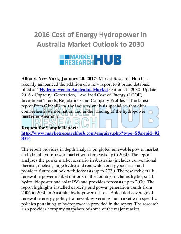 Market Research Report Australia Hydropower Market Research Report 2021