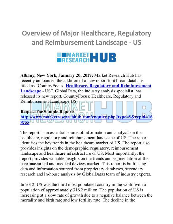 Market Research Report US Healthcare, Regulatory and Reimbursement Landsc