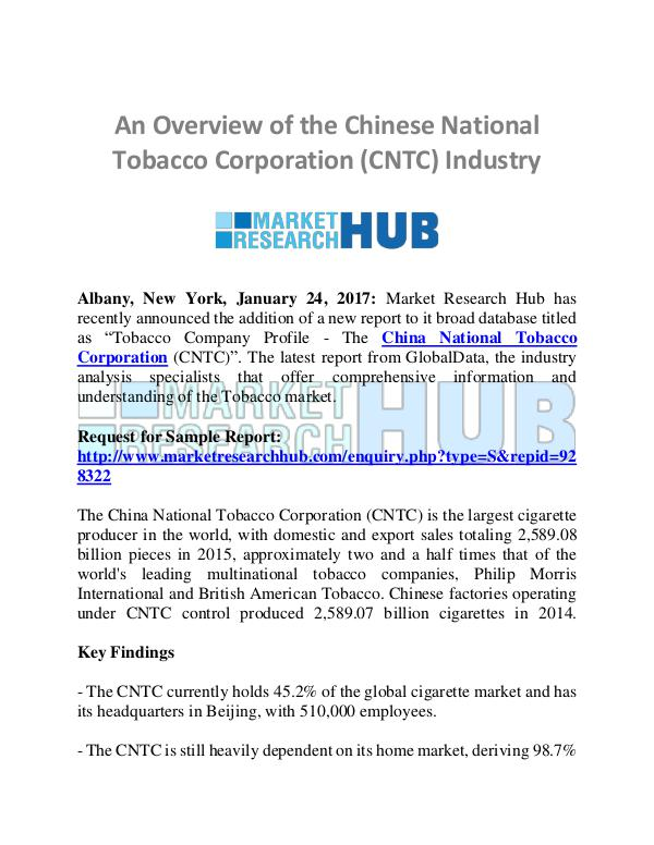 Market Research Report Overview of  Chinese National Tobacco Corporation