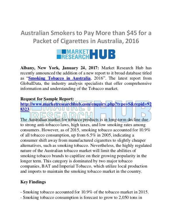 Market Research Report Australian Tobacco Market Research Report