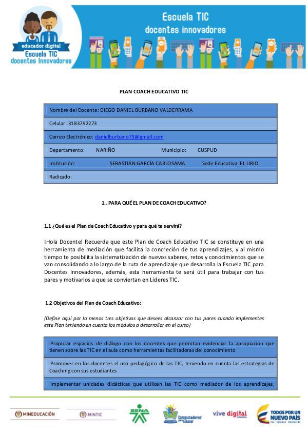 PLAN COACH EDUCATIVO DANIEL Edición 1. año1