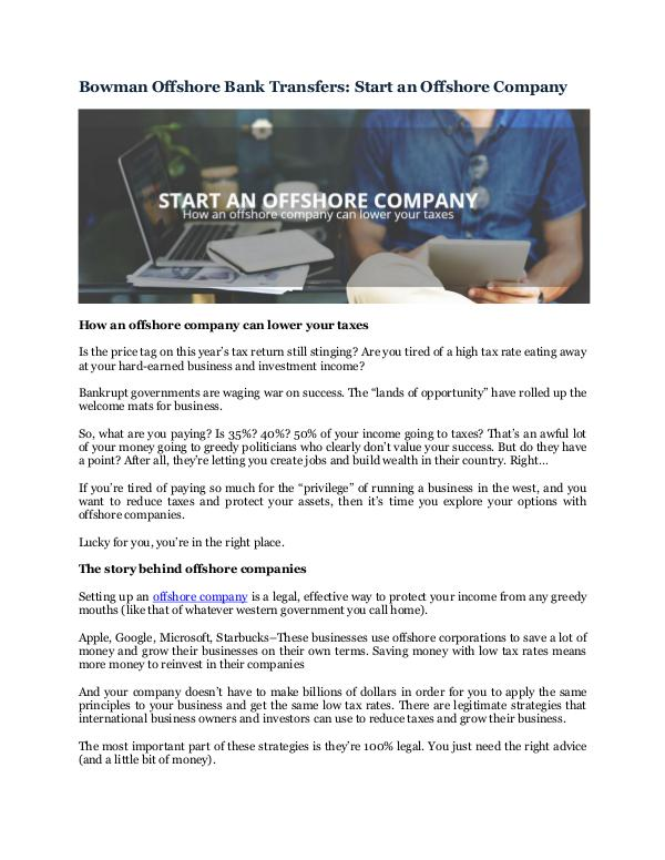 Bowman Offshore Bank Transfers: Start an Offshore