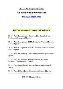 CIS 331  Expect Success/uophelp.com
