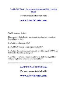 CARD 548 Course Great Wisdom / tutorialrank.com