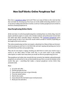 How Does an Online Paraphrase Tool Work?
