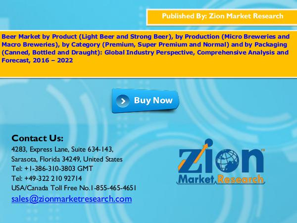 Zion Market Research Beer Market, 2016 – 2022