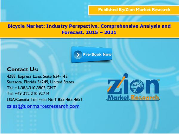 Zion Market Research Global Bicycle Market  Size, 2015 - 2021