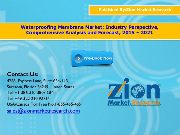 Waterproofing Membrane Market, 2015 - 2021