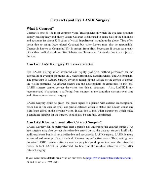 Cataracts And Eye LASIK Surgery Cataracts And Eye LASIK Surgery