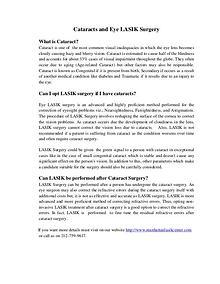 Cataracts And Eye LASIK Surgery