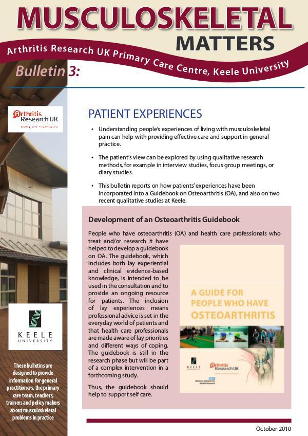 3: Patient Experiences