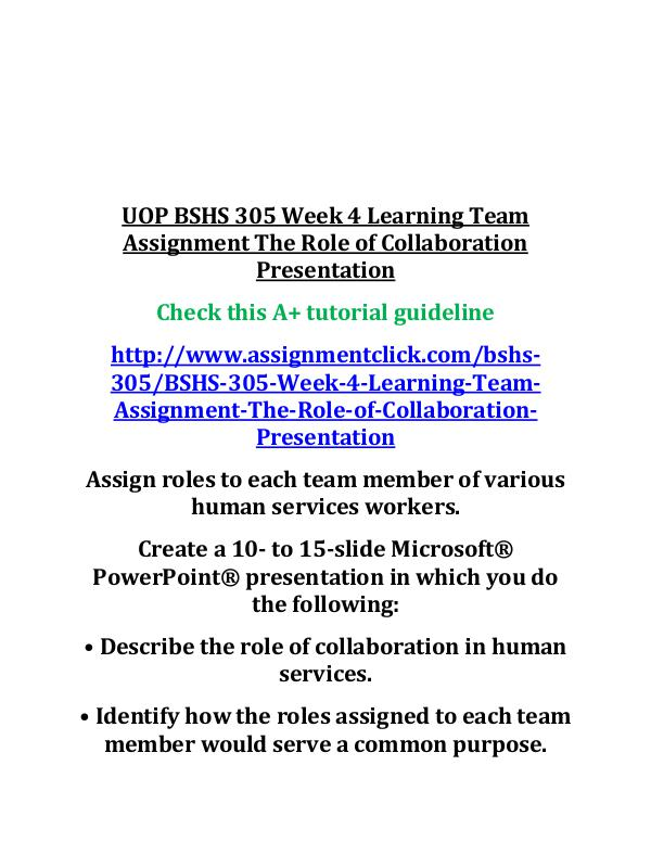 UOP BSHS 305 Week 4 Learning Team Assignment The R