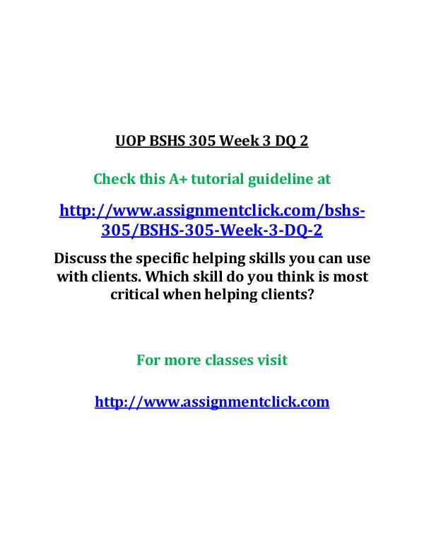 uop bshs 305 entire course UOP BSHS 305 Week 3 DQ 2