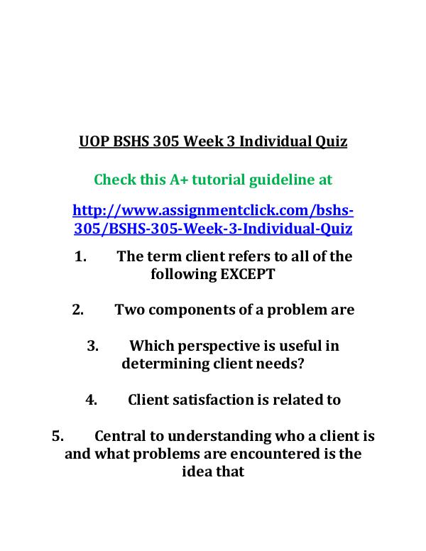 UOP BSHS 305 Week 3 Individual Quiz