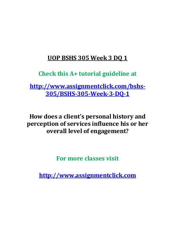 UOP BSHS 305 Week 3 DQ 1