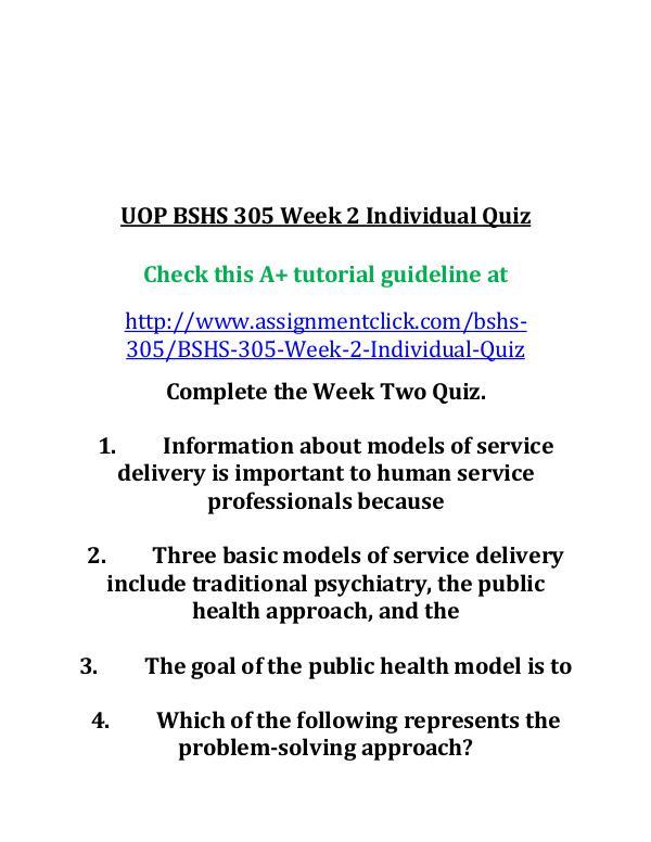 UOP BSHS 305 Week 2 Individual Quiz