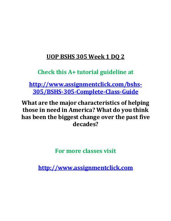 UOP BSHS 305 Week 1 DQ 2