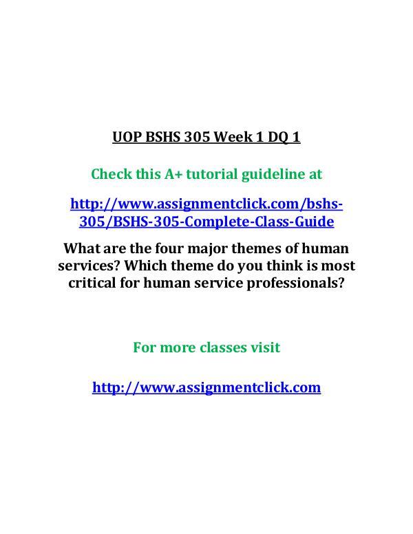 UOP BSHS 305 Week 1 DQ 1