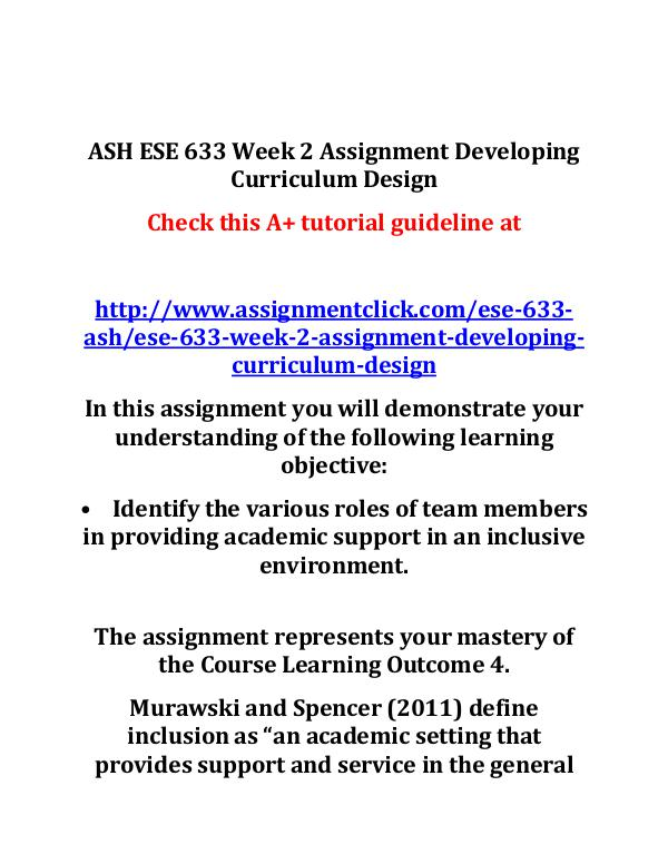 ash ese 633 entire course ASH ESE 633 Week 2 Assignment Developing Curriculu