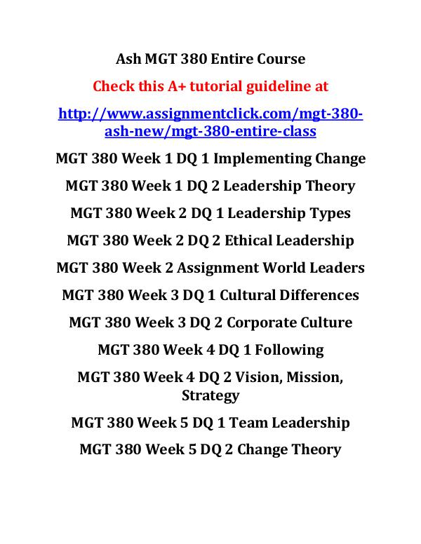 ash mgt 380 new entire course Ash MGT 380 Entire Course
