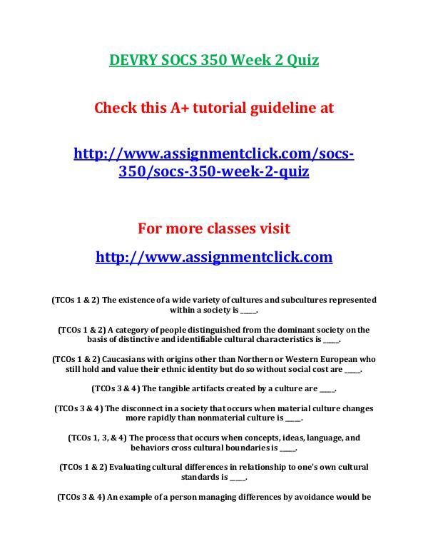 DEVRY SOCS 350 Entire Course DEVRY SOCS 350 Week 2 Quiz